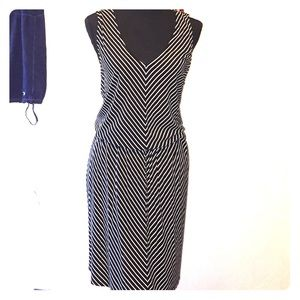 Black and white stripped cotton stretch dress
